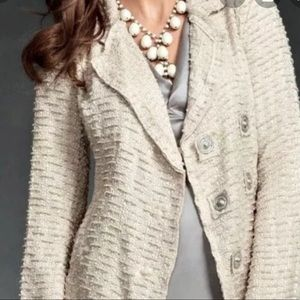 CAbi Textured Double Breasted Oatmeal Cardigan